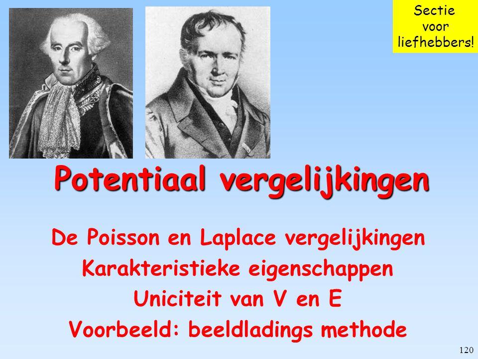 120 Potentiaal vergelijkingen De Poisson en Laplace vergelijkingen Karakteristieke eigenschappen Uniciteit van V en E Voorbeeld: beeldladings methode