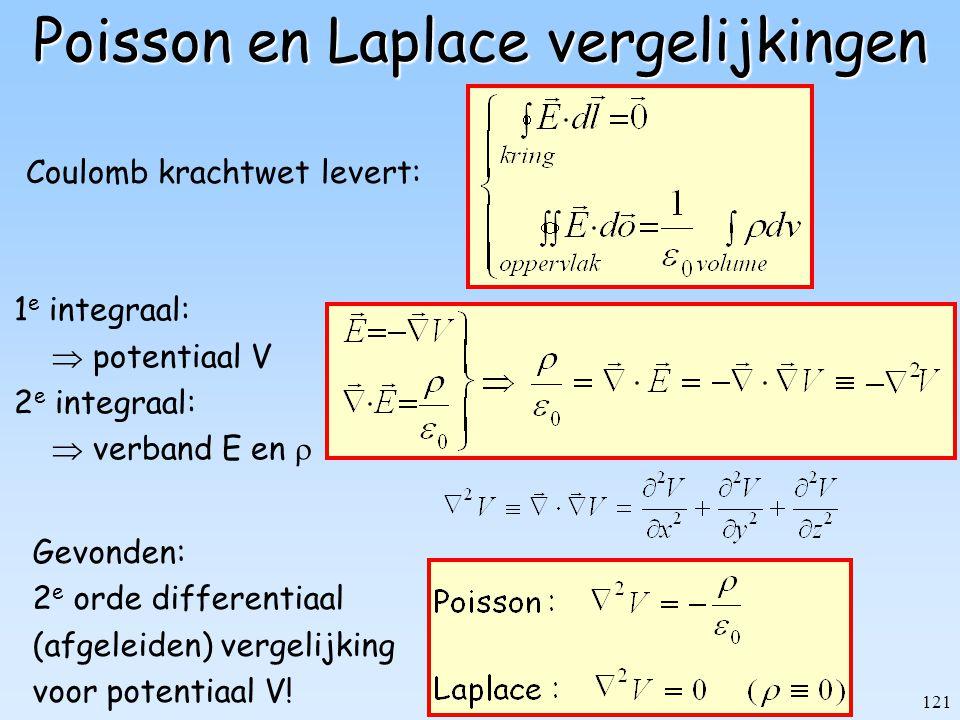 121 Poisson en Laplace vergelijkingen Coulomb krachtwet levert: 1 e integraal:  potentiaal V 2 e integraal:  verband E en  Gevonden: 2 e orde diffe