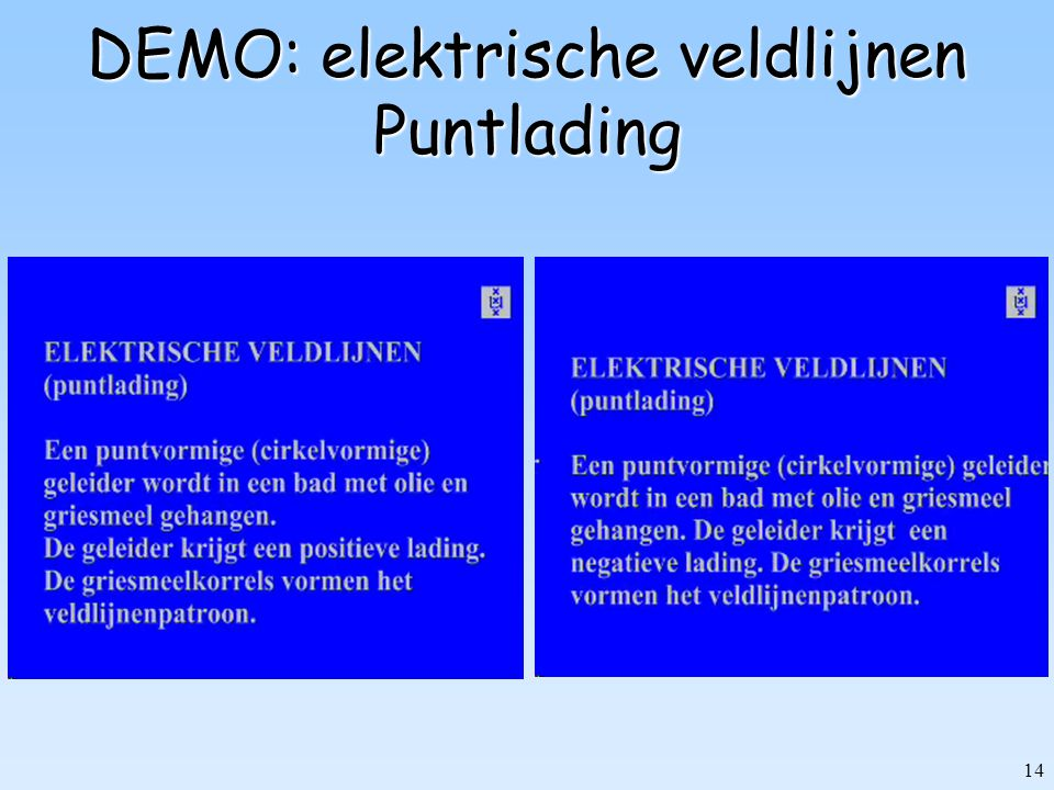 14 DEMO: elektrische veldlijnen Puntlading