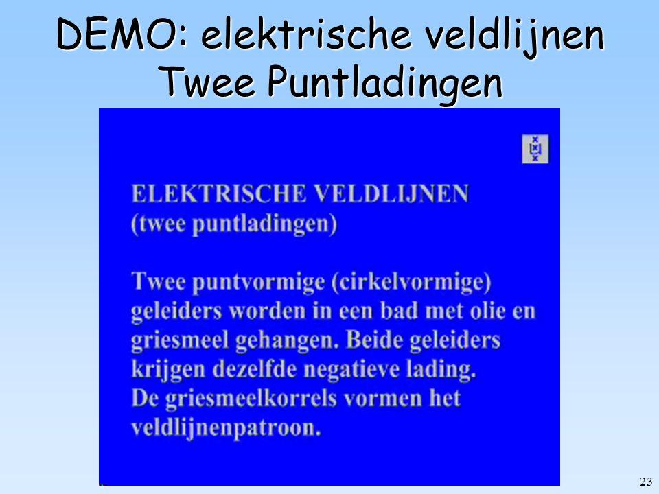 23 DEMO: elektrische veldlijnen Twee Puntladingen