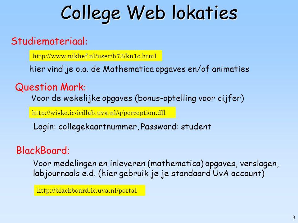 3 College Web lokaties http://www.nikhef.nl/user/h73/kn1c.html Studiemateriaal : http://wiske.ic-icdlab.uva.nl/q/perception.dll Question Mark : BlackB