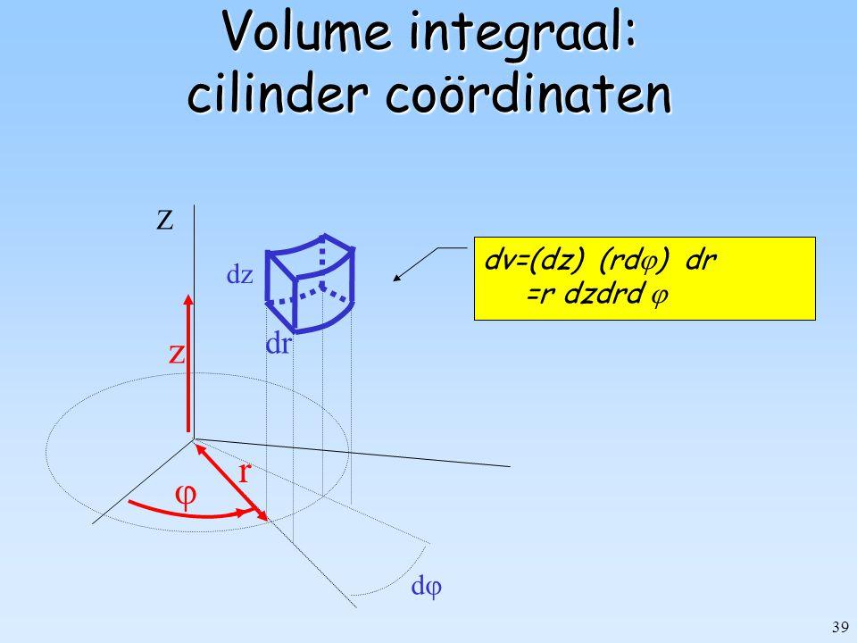 39 Volume integraal: cilinder coördinaten r Z dd  dzdz dv=(dz) (rd  ) dr =r dzdrd  dr z
