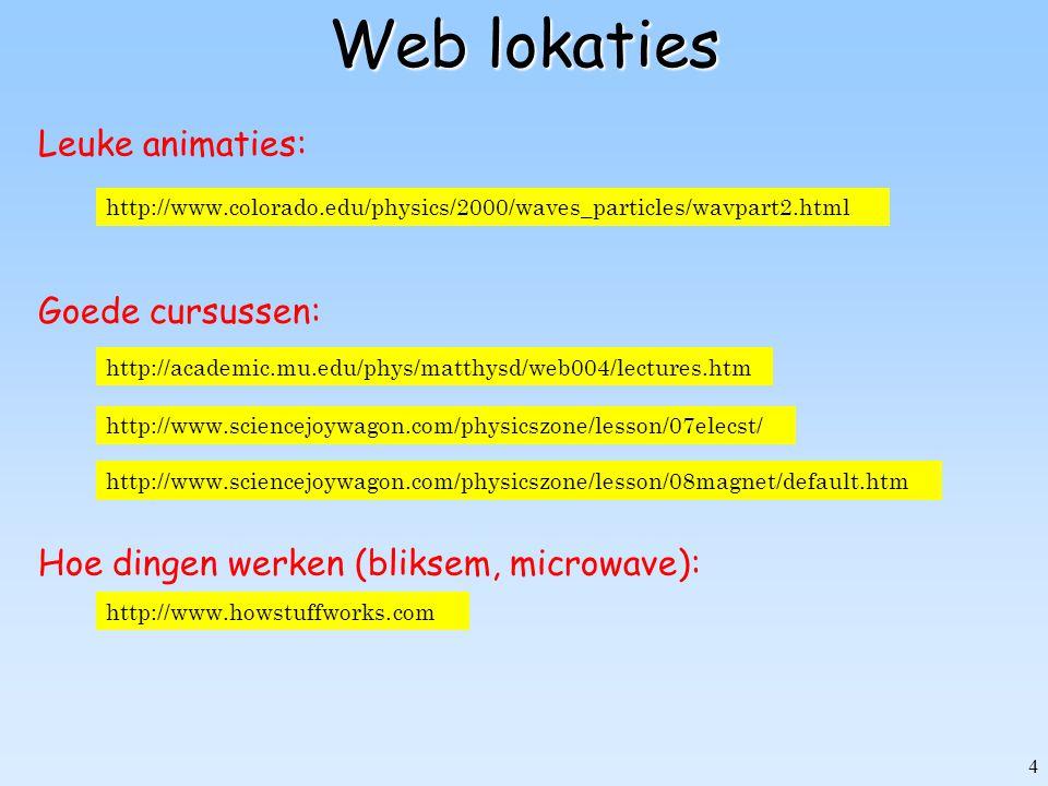 4 Web lokaties http://www.colorado.edu/physics/2000/waves_particles/wavpart2.html Leuke animaties: http://academic.mu.edu/phys/matthysd/web004/lecture