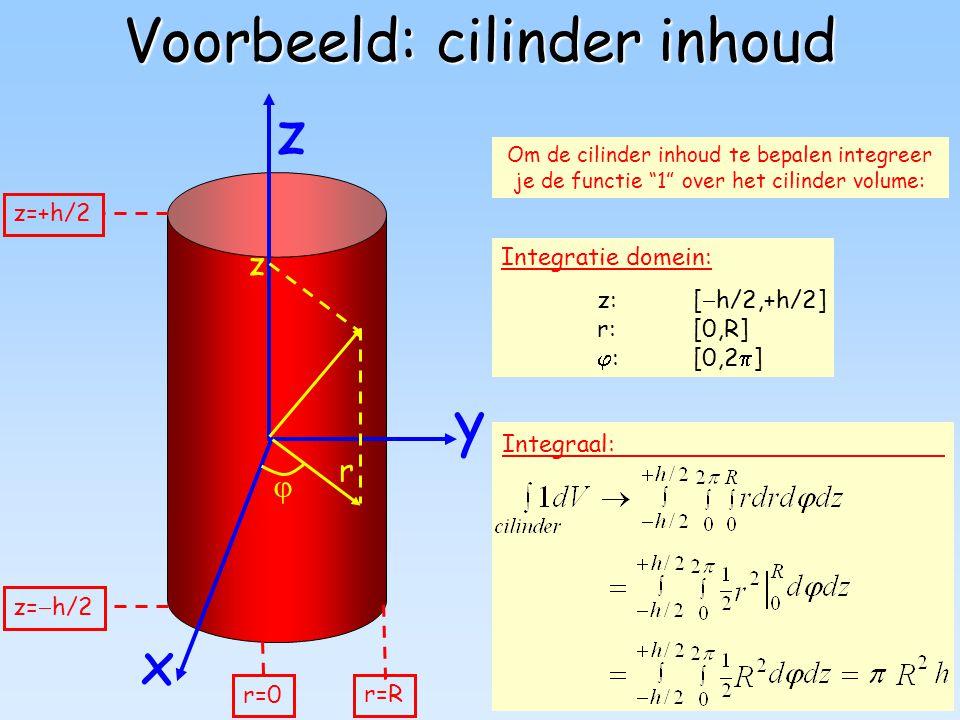 """40 Voorbeeld: cilinder inhoud y z x Om de cilinder inhoud te bepalen integreer je de functie """"1"""" over het cilinder volume: Integraal: Integratie domei"""