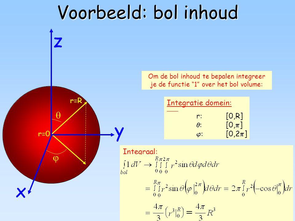 """42 Voorbeeld: bol inhoud Integratie domein: r:[0,R]  :[0,  ]  :[0,2  ] r=R r=0   y z x Om de bol inhoud te bepalen integreer je de functie """"1"""" o"""