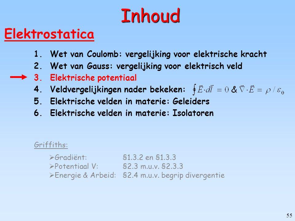 55 Inhoud Elektrostatica 1.Wet van Coulomb: vergelijking voor elektrische kracht 2.Wet van Gauss: vergelijking voor elektrisch veld 3.Elektrische pote