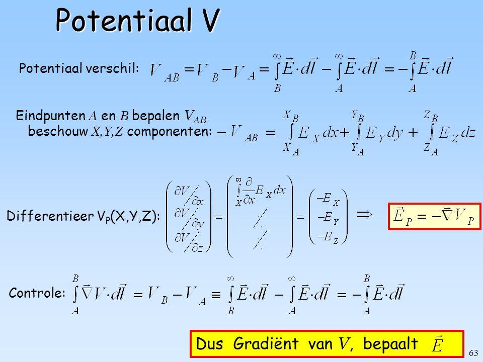 63 Potentiaal V Potentiaal verschil: Eindpunten A en B bepalen V AB beschouw X,Y,Z componenten: Dus Gradiënt van V, bepaalt Differentieer V P (X,Y,Z):