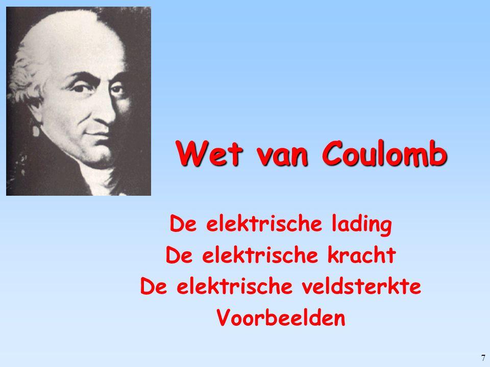7 Wet van Coulomb De elektrische lading De elektrische kracht De elektrische veldsterkte Voorbeelden