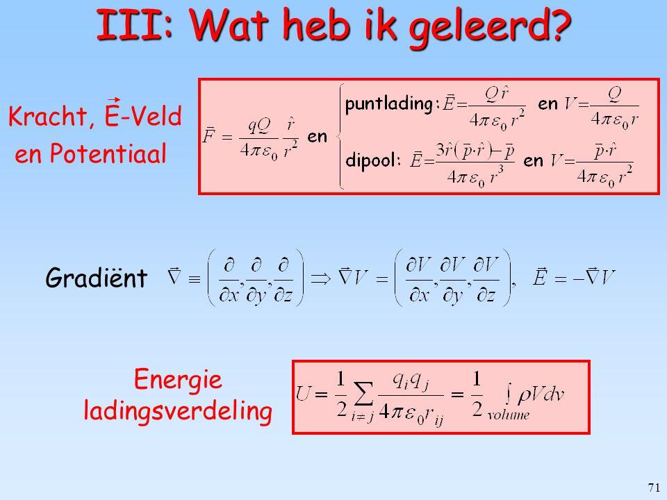 71 III: Wat heb ik geleerd? Energie ladingsverdeling Kracht, E-Veld en Potentiaal Gradiënt