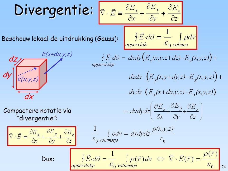 """74Divergentie: Compactere notatie via """"divergentie"""": Dus: dx dy E(x+dx,y,z) dz E(x,y,z) Beschouw lokaal de uitdrukking (Gauss):"""