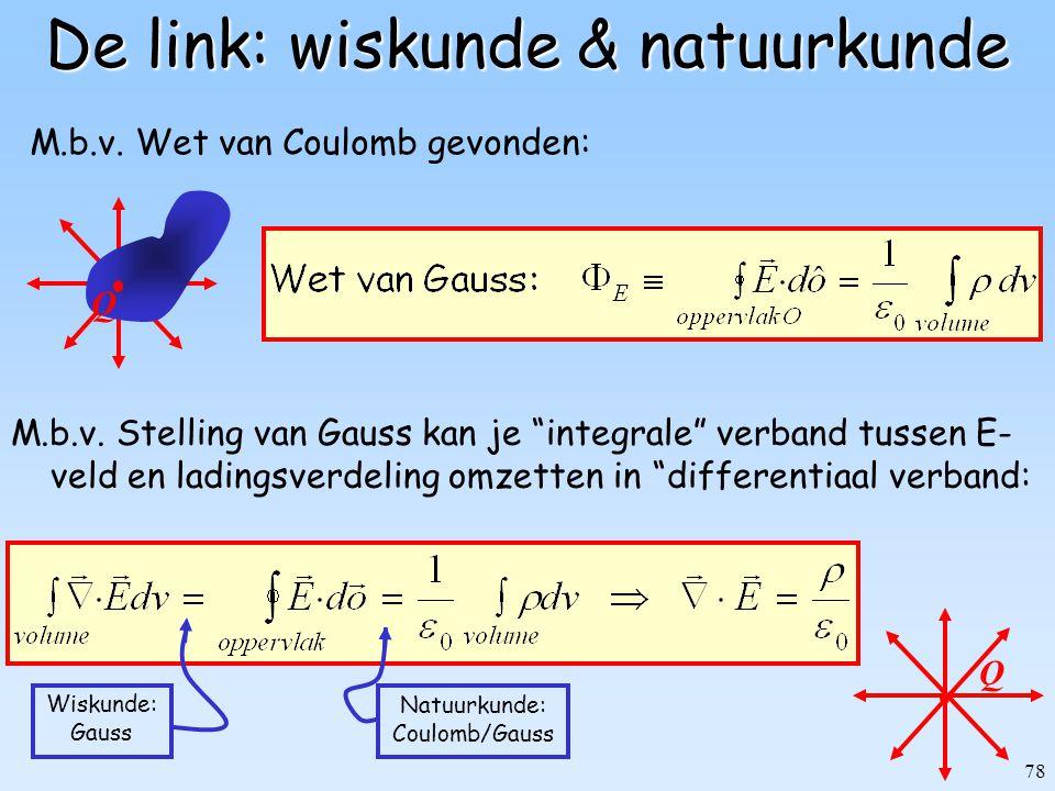 "78 De link: wiskunde & natuurkunde M.b.v. Stelling van Gauss kan je ""integrale"" verband tussen E- veld en ladingsverdeling omzetten in ""differentiaal"
