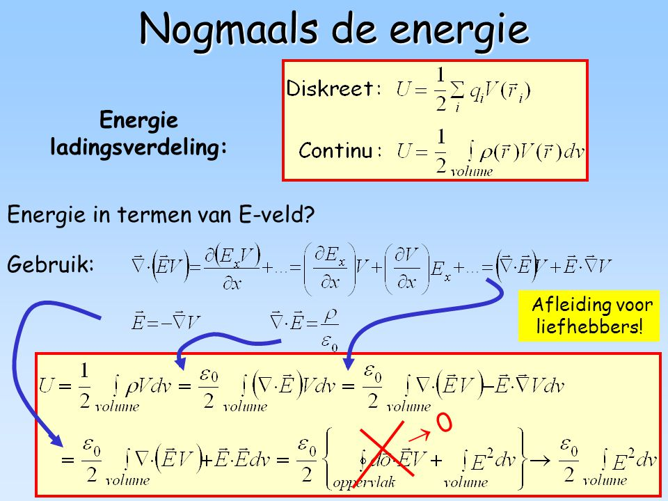 81 Afleiding voor liefhebbers! Nogmaals de energie Energie in termen van E-veld?  0 Energie ladingsverdeling: Gebruik: