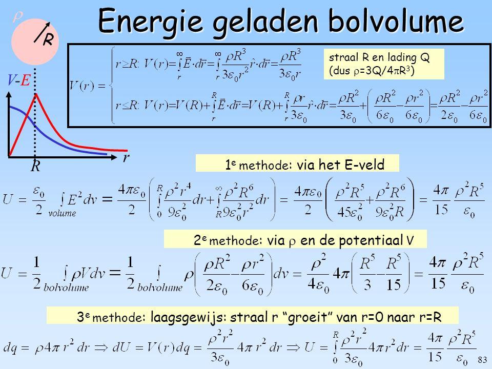 """83 Energie geladen bolvolume 2 e methode : via  en de potentiaal V 1 e methode : via het E-veld 3 e methode : laagsgewijs: straal r """"groeit"""" van r=0"""