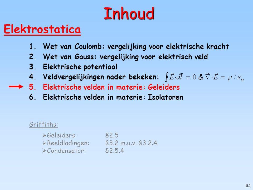 85 Inhoud Elektrostatica 1.Wet van Coulomb: vergelijking voor elektrische kracht 2.Wet van Gauss: vergelijking voor elektrisch veld 3.Elektrische pote
