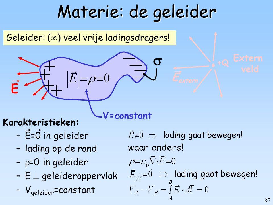 87 Geleider: (  ) veel vrije ladingsdragers! +Q Extern veld E extern Materie: de geleider –V geleider =constant V=constant –E=0 in geleider Karakteri