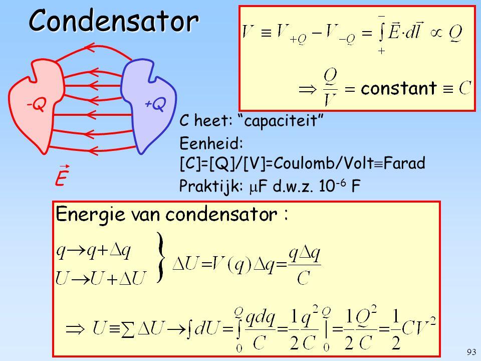 """93Condensator C heet: """"capaciteit"""" Eenheid: [C]=[Q]/[V]=Coulomb/Volt  Farad Praktijk:  F d.w.z. 10 -6 F -Q+Q E"""