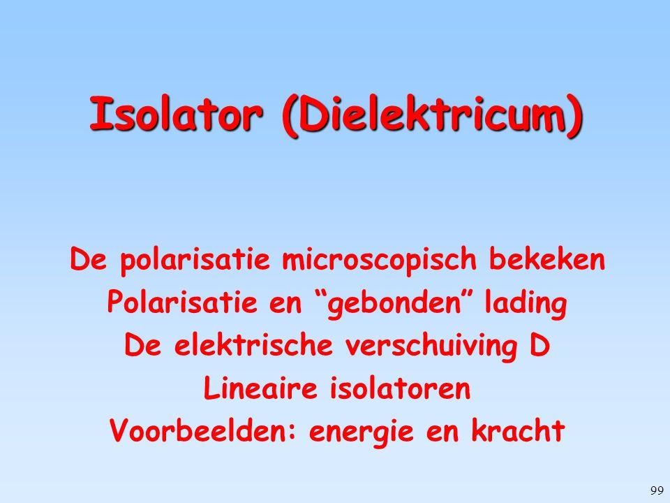 """99 Isolator (Dielektricum) De polarisatie microscopisch bekeken Polarisatie en """"gebonden"""" lading De elektrische verschuiving D Lineaire isolatoren Voo"""