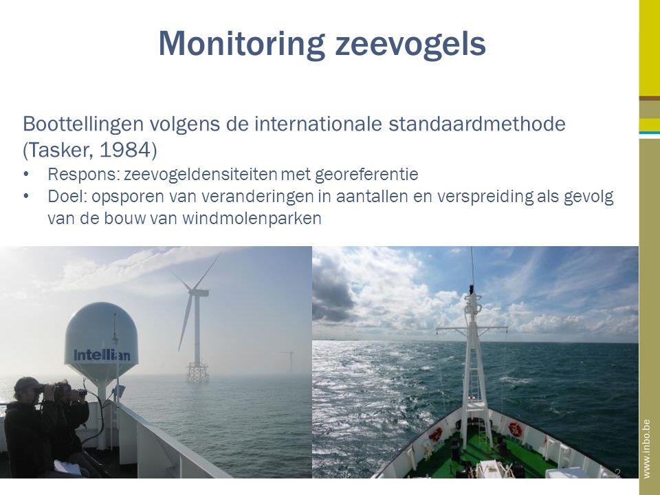 Monitoring zeevogels 2 Boottellingen volgens de internationale standaardmethode (Tasker, 1984) Respons: zeevogeldensiteiten met georeferentie Doel: opsporen van veranderingen in aantallen en verspreiding als gevolg van de bouw van windmolenparken