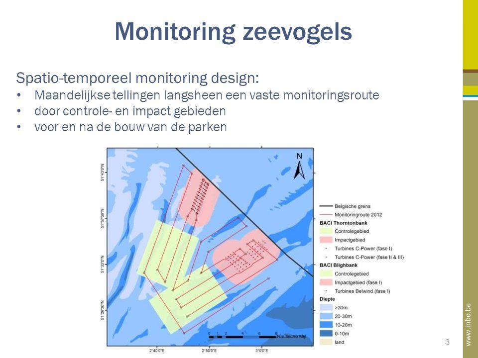 3 Monitoring zeevogels Spatio-temporeel monitoring design: Maandelijkse tellingen langsheen een vaste monitoringsroute door controle- en impact gebieden voor en na de bouw van de parken