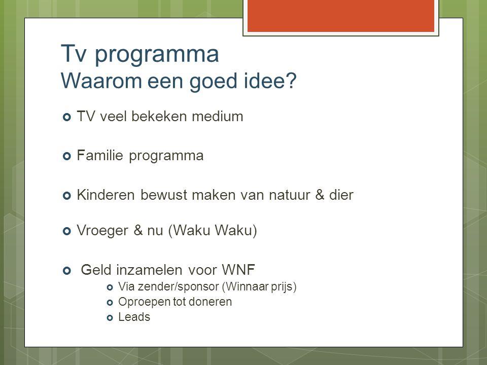 Tv programma Waarom een goed idee?  TV veel bekeken medium  Familie programma  Kinderen bewust maken van natuur & dier  Vroeger & nu (Waku Waku) 