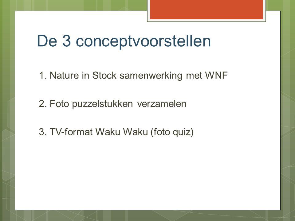 De 3 conceptvoorstellen 1. Nature in Stock samenwerking met WNF 2. Foto puzzelstukken verzamelen 3. TV-format Waku Waku (foto quiz)