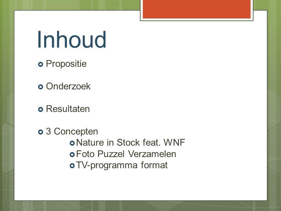 Inhoud  Propositie  Onderzoek  Resultaten  3 Concepten  Nature in Stock feat. WNF  Foto Puzzel Verzamelen  TV-programma format