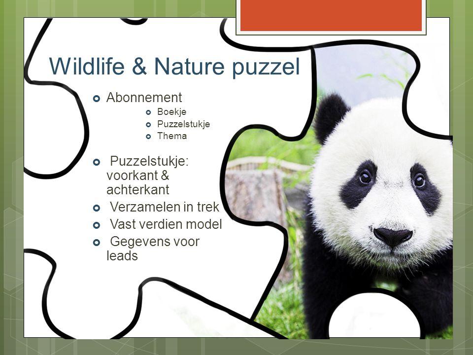 Wildlife & Nature puzzel  Abonnement  Boekje  Puzzelstukje  Thema  Puzzelstukje: voorkant & achterkant  Verzamelen in trek  Vast verdien model