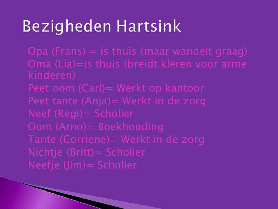  Opa (Frans) = is thuis (maar wandelt graag)  Oma (Lia)=is thuis (breidt kleren voor arme kinderen)  Peet oom (Carl)= Werkt op kantoor  Peet tante (Anja)= Werkt in de zorg  Neef (Regi)= Scholier  Oom (Arno)= Boekhouding  Tante (Corriene)= Werkt in de zorg  Nichtje (Britt)= Scholier  Neefje (Jim)= Scholier