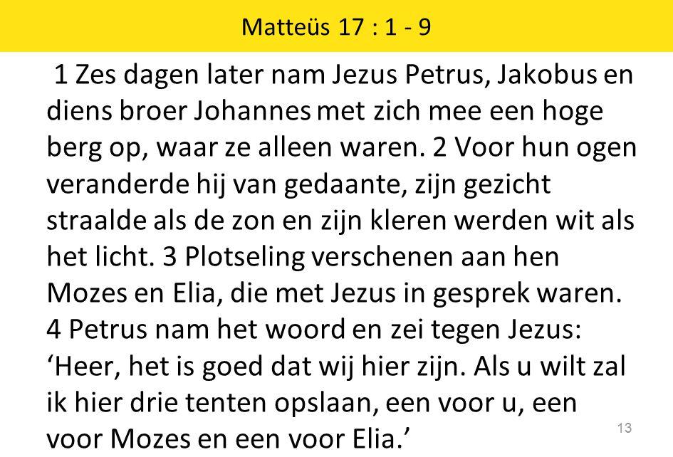 1 Zes dagen later nam Jezus Petrus, Jakobus en diens broer Johannes met zich mee een hoge berg op, waar ze alleen waren. 2 Voor hun ogen veranderde hi