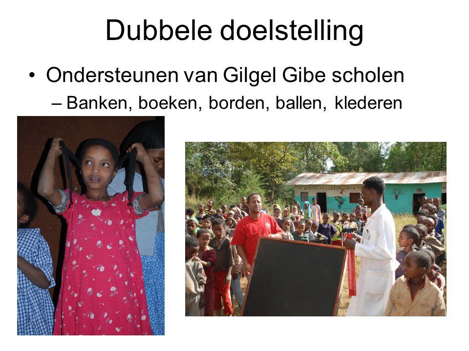 Dubbele doelstelling Ondersteunen van Gilgel Gibe scholen –Banken, boeken, borden, ballen, klederen