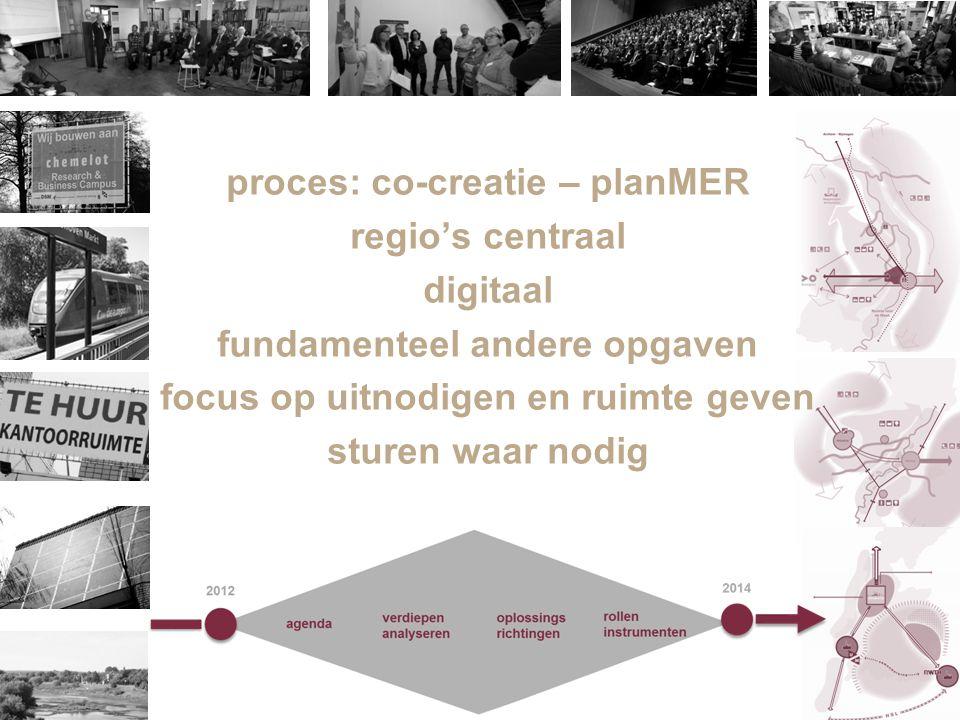 3 3 proces: co-creatie – planMER regio's centraal digitaal fundamenteel andere opgaven focus op uitnodigen en ruimte geven sturen waar nodig