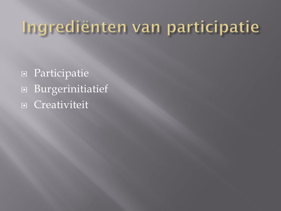  Participatie  Burgerinitiatief  Creativiteit