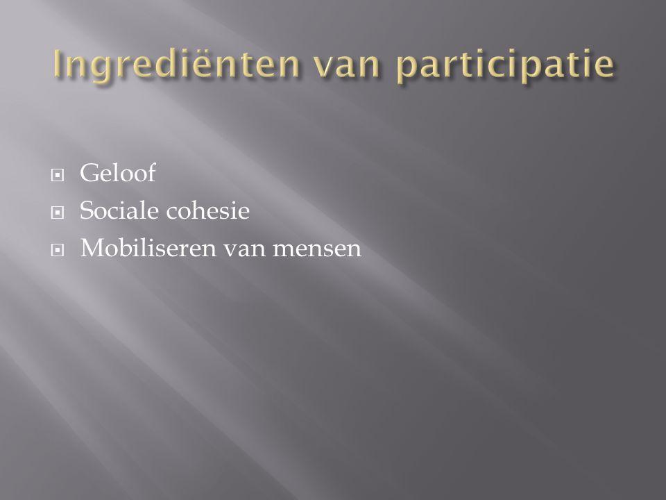  Geloof  Sociale cohesie  Mobiliseren van mensen