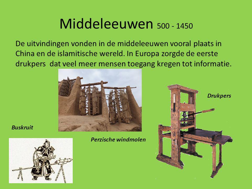 Middeleeuwen 500 - 1450 De uitvindingen vonden in de middeleeuwen vooral plaats in China en de islamitische wereld. In Europa zorgde de eerste drukper