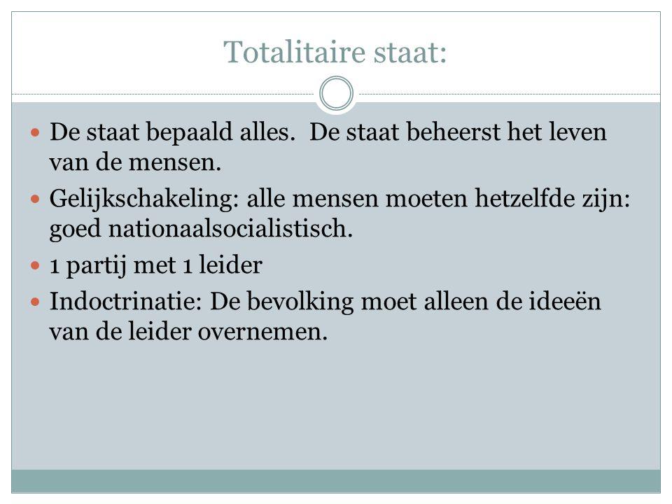 Totalitaire staat: De staat bepaald alles. De staat beheerst het leven van de mensen.