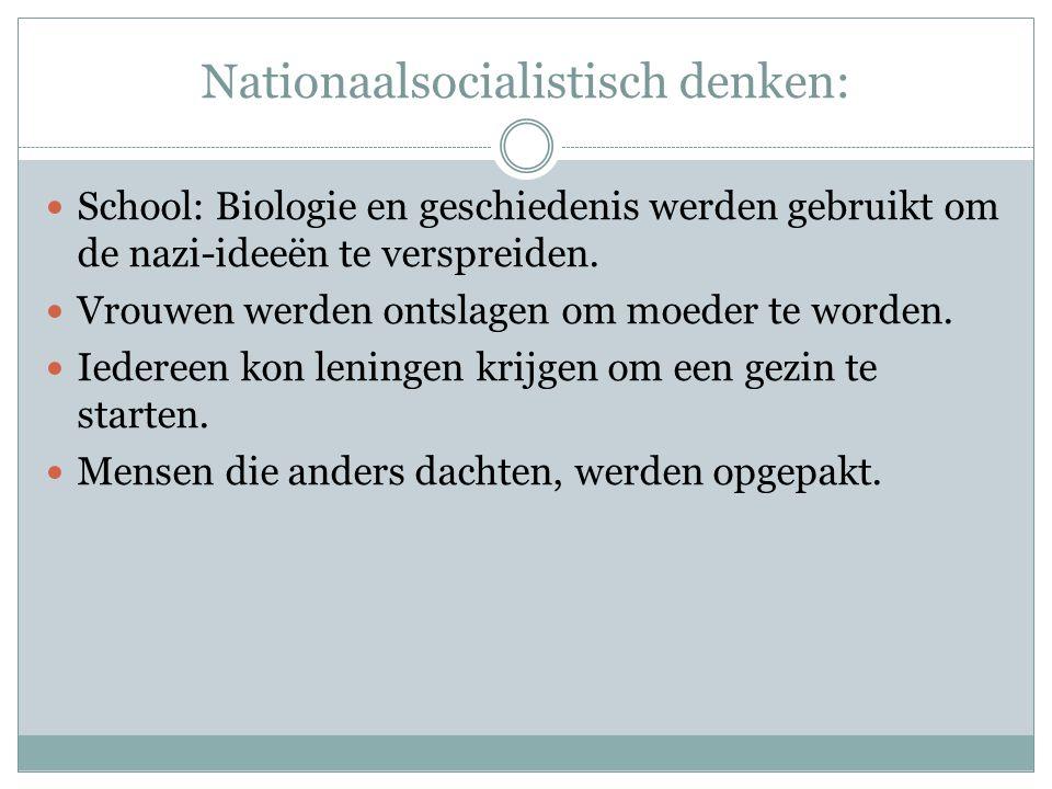 Nationaalsocialistisch denken: School: Biologie en geschiedenis werden gebruikt om de nazi-ideeën te verspreiden.