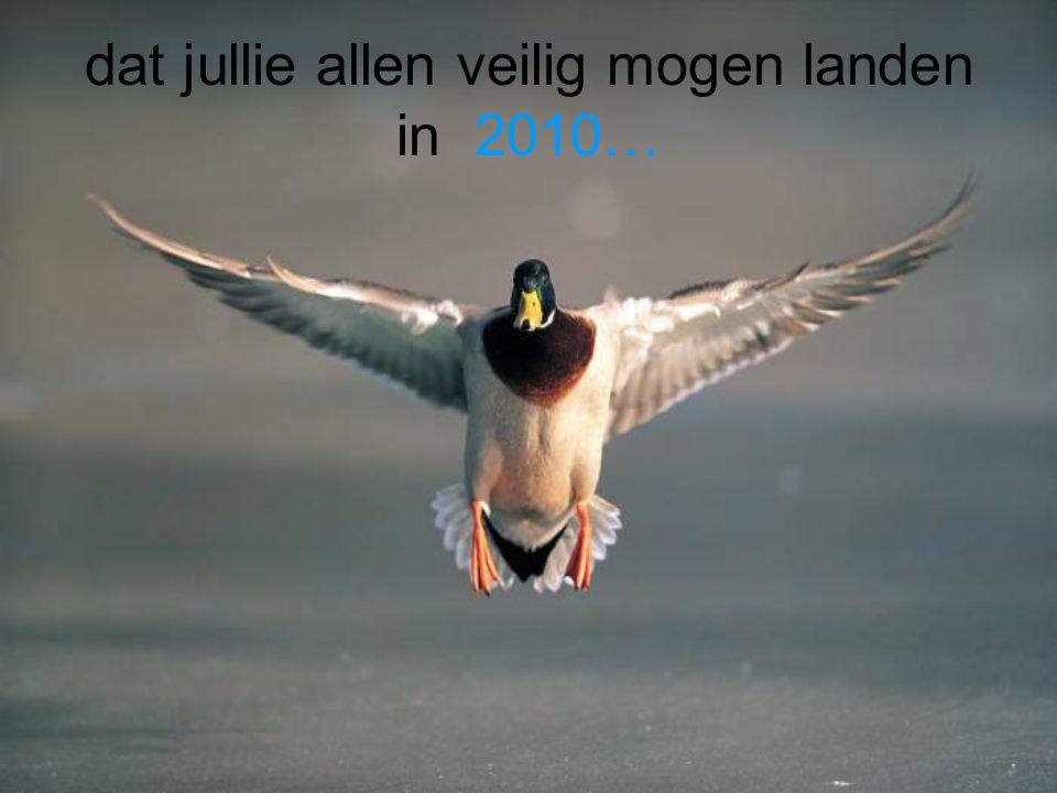 dat jullie allen veilig mogen landen in 2010…