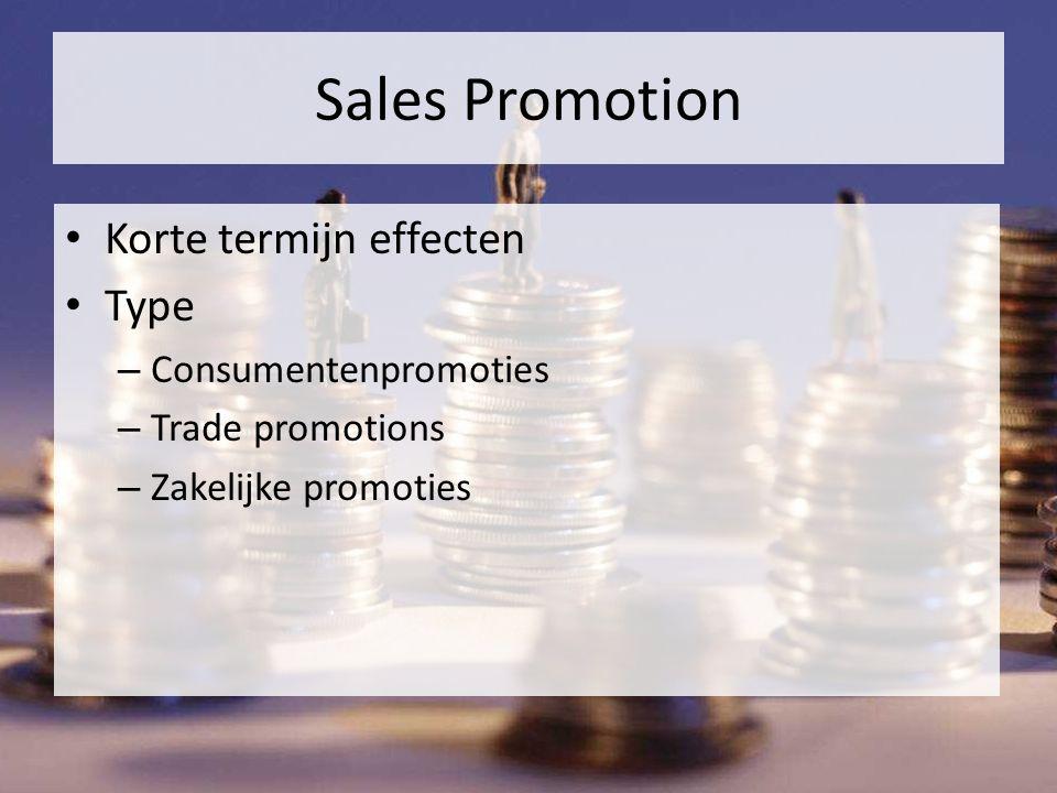 Sales Promotion Korte termijn effecten Type – Consumentenpromoties – Trade promotions – Zakelijke promoties