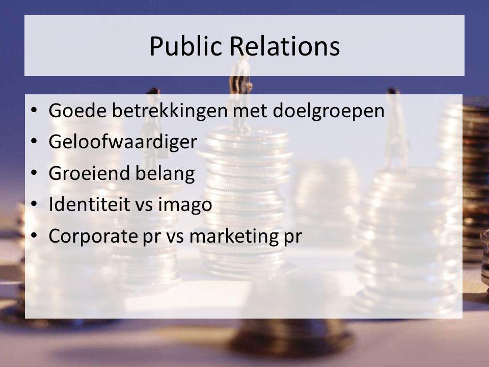 Public Relations Goede betrekkingen met doelgroepen Geloofwaardiger Groeiend belang Identiteit vs imago Corporate pr vs marketing pr