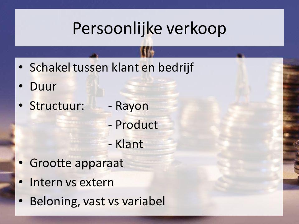 Persoonlijke verkoop Schakel tussen klant en bedrijf Duur Structuur: - Rayon - Product - Klant Grootte apparaat Intern vs extern Beloning, vast vs variabel