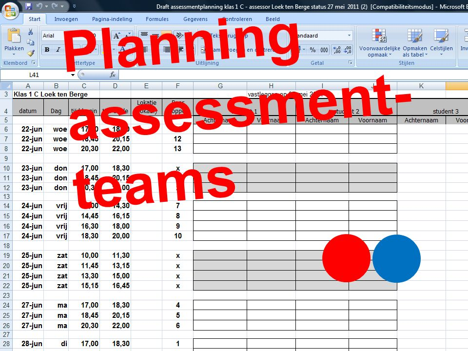 Planning assessment- teams
