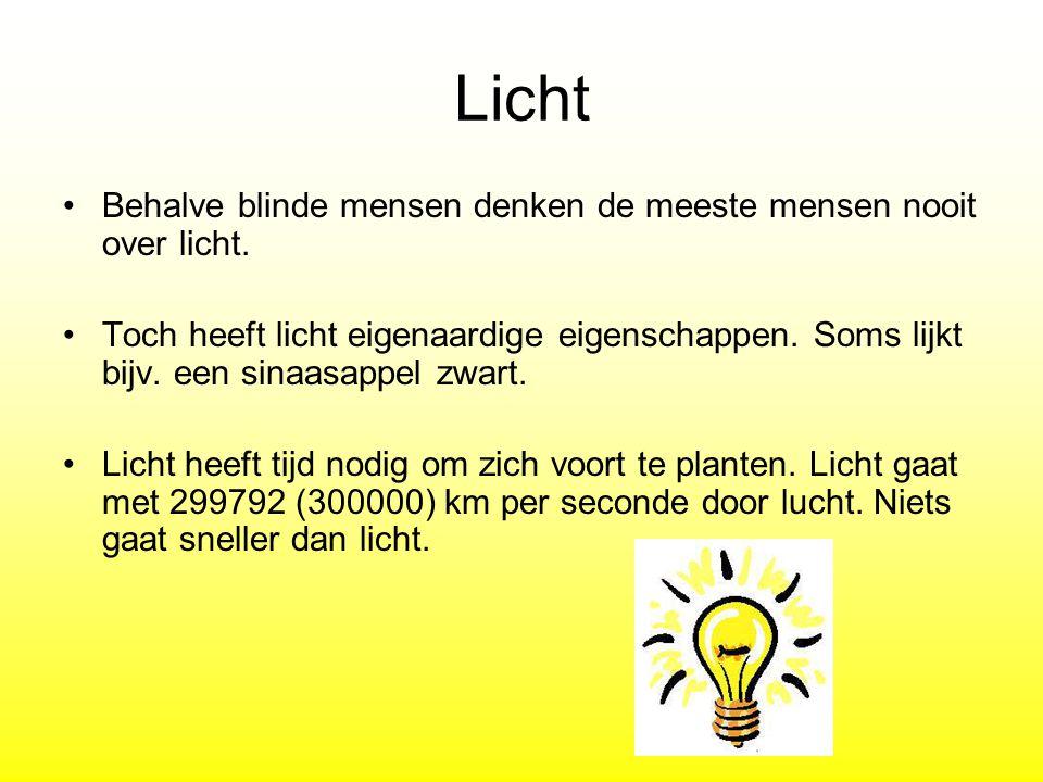 Licht Behalve blinde mensen denken de meeste mensen nooit over licht. Toch heeft licht eigenaardige eigenschappen. Soms lijkt bijv. een sinaasappel zw