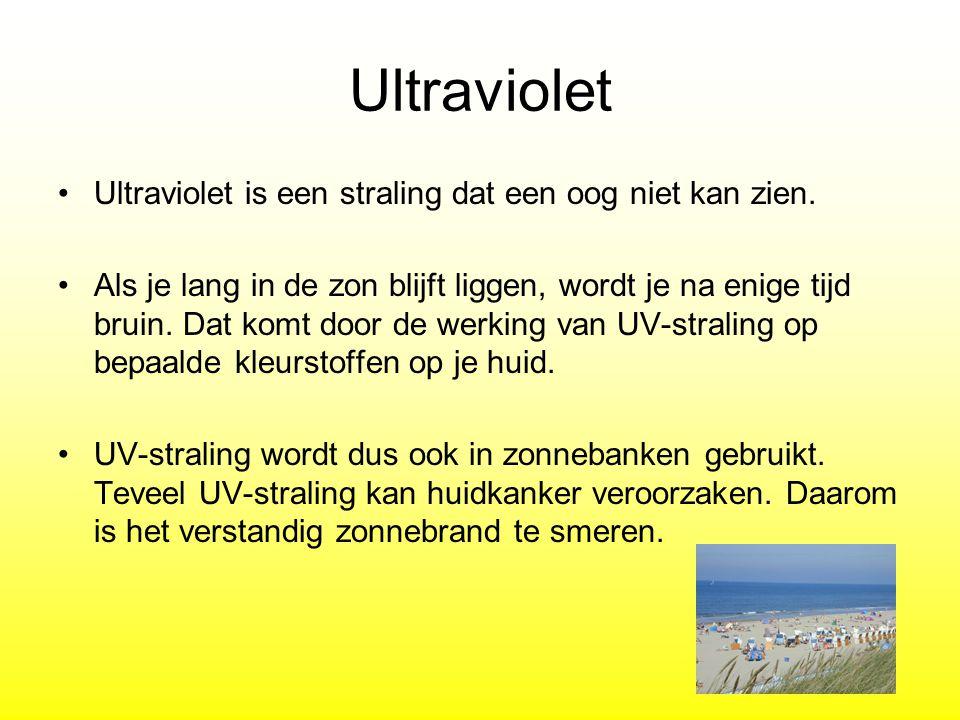 Ultraviolet Ultraviolet is een straling dat een oog niet kan zien. Als je lang in de zon blijft liggen, wordt je na enige tijd bruin. Dat komt door de