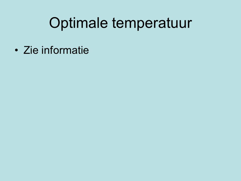 Optimale temperatuur Zie informatie