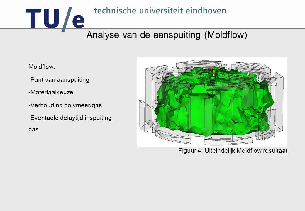 Analyse van de aanspuiting (Moldflow) Moldflow: -Punt van aanspuiting -Materiaalkeuze -Verhouding polymeer/gas -Eventuele delaytijd inspuiting gas Fig