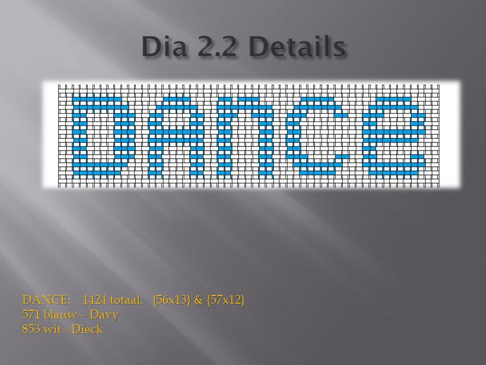 DANCE: 1424 totaal. {56x13} & {57x12} 571 blauw – Davy 853 wit - Dieck