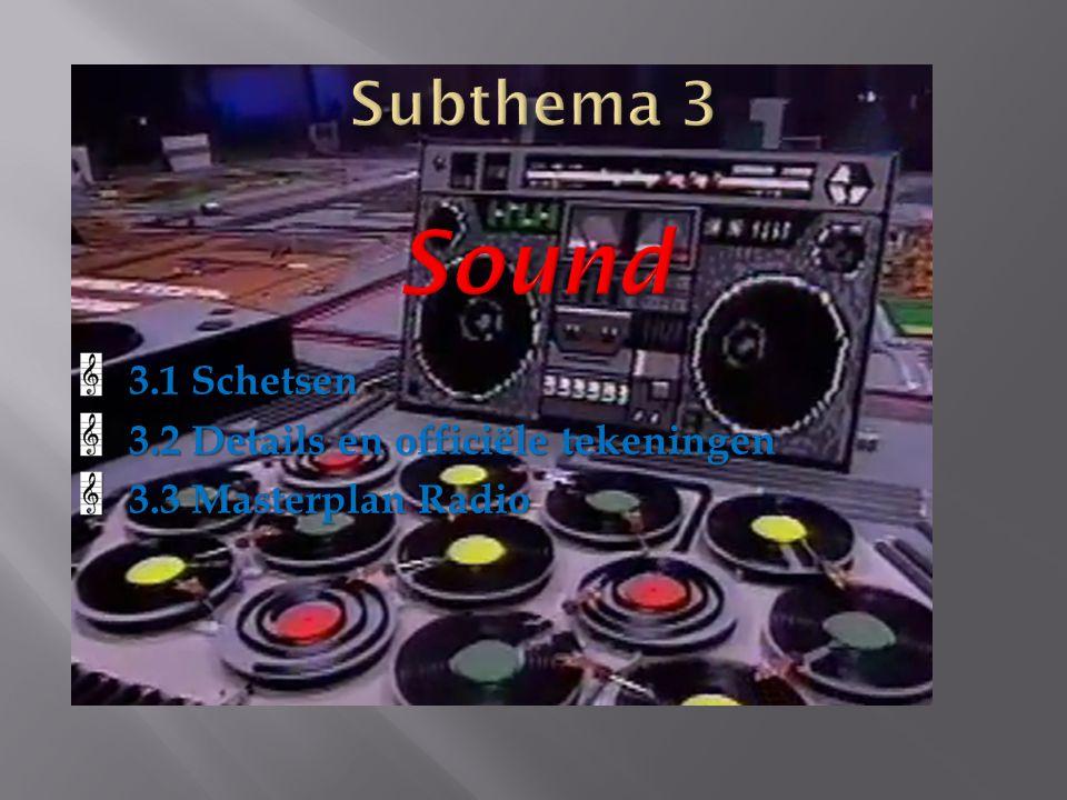 3.1 Schetsen 3.2 Details en officiële tekeningen 3.3 Masterplan Radio