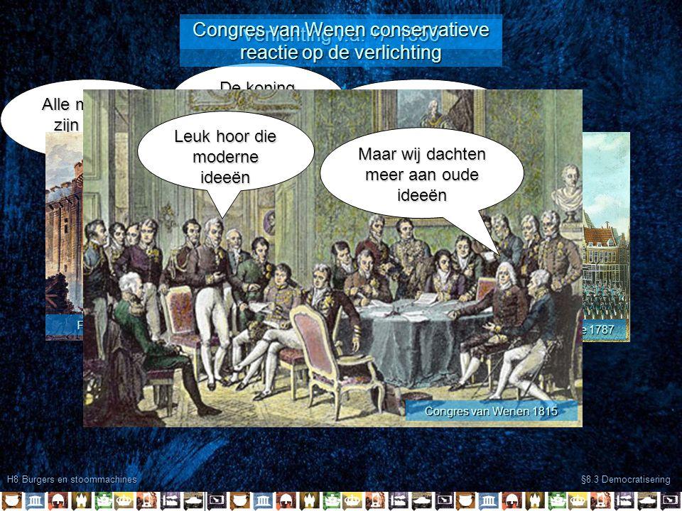 H8 Burgers en stoommachines §8.3 Democratisering John Locke 1632-1704 Montesquieu 1689 –1755 Alle mensen zijn gelijk geboren Verlichting v.a.