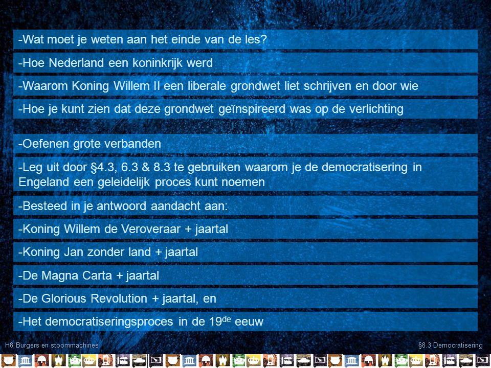 H8 Burgers en stoommachines §8.3 Democratisering -Wat moet je weten aan het einde van de les? -Hoe Nederland een koninkrijk werd -Waarom Koning Willem