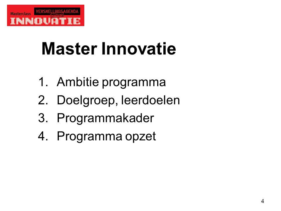 4 Master Innovatie 1.Ambitie programma 2.Doelgroep, leerdoelen 3.Programmakader 4.Programma opzet